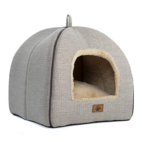 Cat Bed for Indoor Cats – Cat Cave Bed Cat House Cat Tent with Removable Washable Cushioned Pillow, Soft and Self…