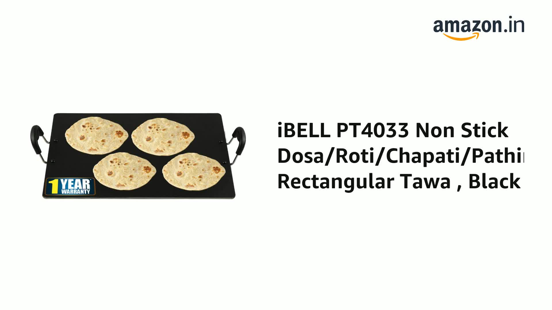iBELL-IBLPT4033-Non-Stick-DosaRotiChapatiPathiri-Rectangular-Tawa-Black-Aluminium-Black