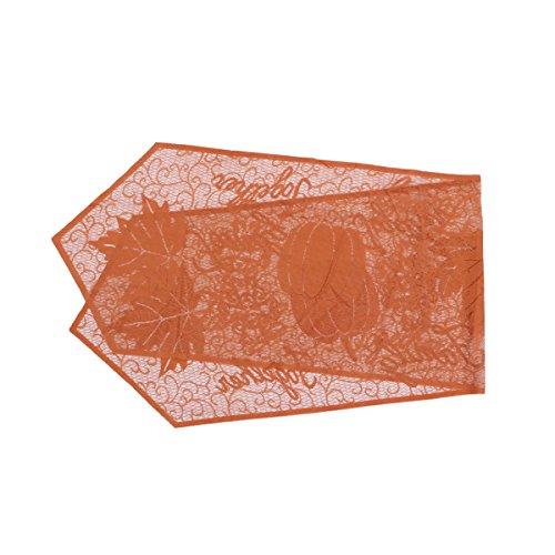 Bestoyard Lace tafelloper Halloween herfstgeval Harvest dankzij Maple Leaf en Pumpkin tafelloper, 20 x 80 inch