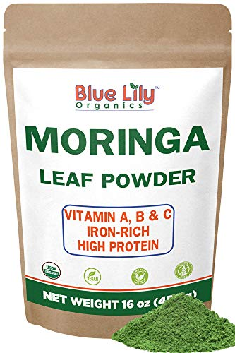 Blue Lily Organics Organic Moringa Oleifera Leaf Powder 1 Pound (16 Oz) 100% Pure Certified Organic - Natural Energy & Metabolism Boost - Non-GMO, Vegan, Green Raw Superfood