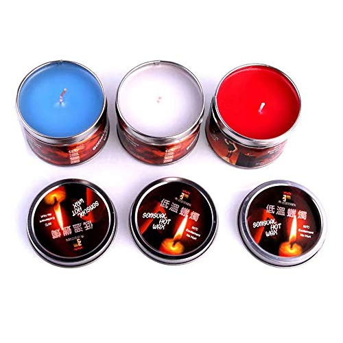 AnGeer 3 pcs/set Low Temperature Candles Wax Dripping Candles Romantic Atmosphere Maker Birthday Gift(White+Red+Blue) (White+Red+Blue)