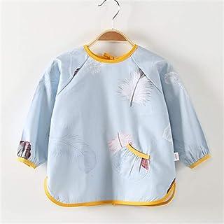 0-4 Years Old Children's Smock Bib Long-sleeved Waterproof Cotton Baby Protective Clothing Waterproof Long-sleeved Bib For...