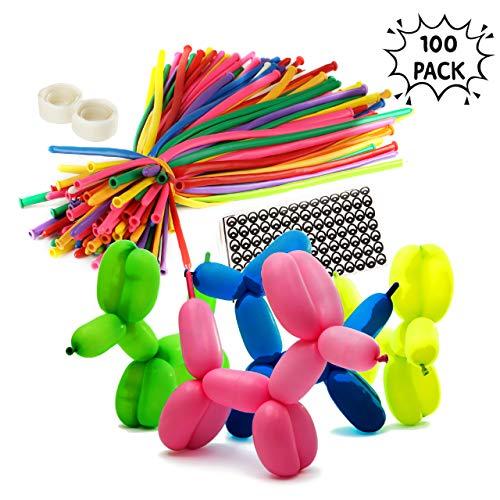 THE TWIDDLERS 100 Stück buntes Luftballons Kit, Modellierballons mit Ballon Pumpe, Klebepunkte Augen für Party - ideales Innenspielzeug für stundenlanges Spiel und Unterhaltung für Kinder