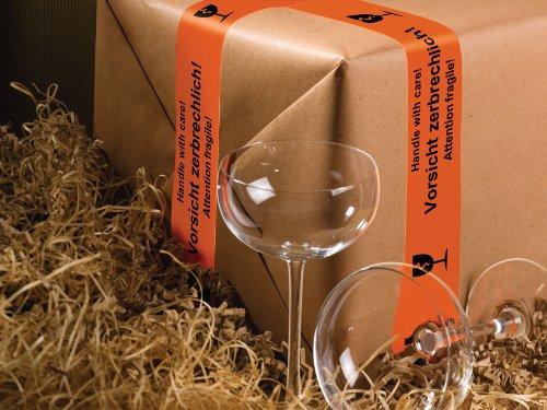 """tesa Packband, Warnband, """"Vorsicht! Zerbrechlich"""", beste tesa PVC Qualität, orange, 66m x 50mm"""