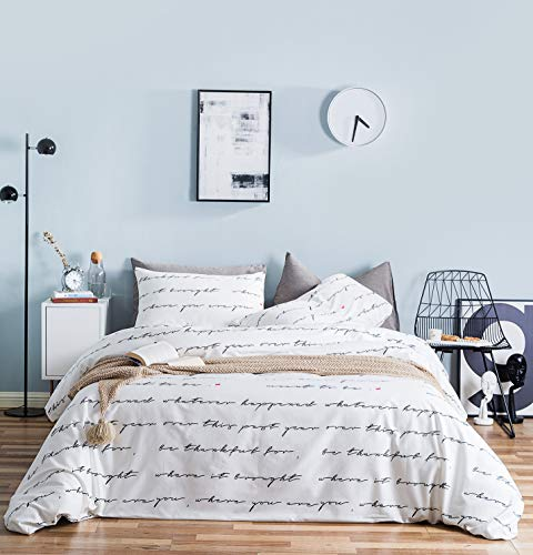 YuHeGuoJi 3 Pieces Duvet Cover Set 100% Cotton King Size White Black Love Letters Print Bedding Set 1 Minimalist Romantic Duvet Cover with Zipper Ties 2 Pillowcases Hotel Quality Soft Breathable Comfy