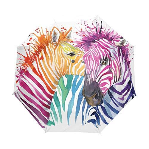 LIUBT Sonnenschirm, bunt, Aquarell, Zebra, 3 Falten, automatisches Öffnen, Schließen, Sonnenschirm, Regen, UV-Schutz