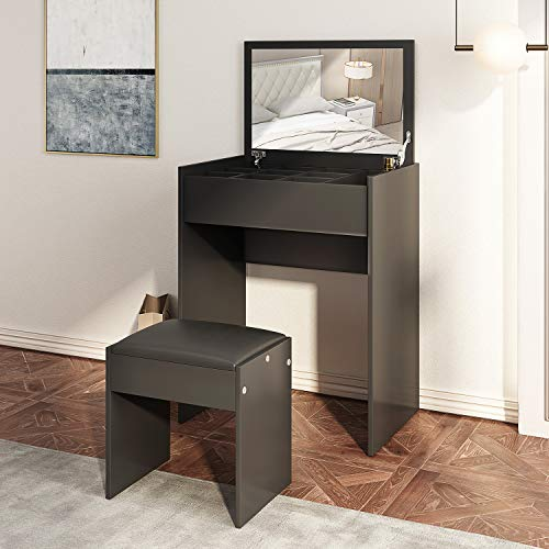 JAXSUNNY Makeup Vanity Table Set with Flip up Mirror Top, Cushioned Stool and Partitioned Storage,Bedroom Furniture,for Women & Girls,Black
