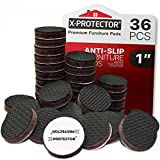 X-PROTECTOR NON SLIP FURNITURE PADS - PREMIUM 36 pcs 1' Furniture Grippers - Best SelfAdhesive Rubber Feet Furniture Feet - Ideal Non Skid Furniture Pad Floor Protectors