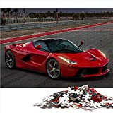 Visionpz Puzzle Adulto 1000 Piezas Ferrari Rojo Rompecabezas clásico Coche Deportivo de Lujo Rompecabezas Juegos educativos para Adultos y niños para aliviar el estrés. 38x26cm
