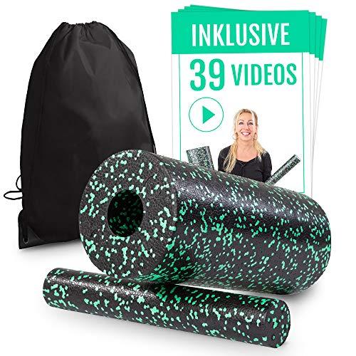 Faszienrolle Set 2 in 1 inkl. Spezial-Videokurs für Einsteiger | Massagerolle für ein straffes Bindegewebe | Foam Roller hautfreundlich & frei von Weichmachern