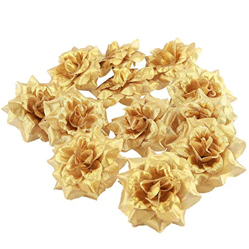 50 stks kunstmatige rozenkoppen nep bloemen hoofd kunstbloemen geschenkdoos voor bruiloft partij verjaardag thuis diy decor(Goud)