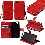 Guran® PU Leder Tasche Etui für Wiko Pulp 3G (5 Zoll) Smartphone Flip Cover Stand Hülle & Karte Slot Hülle-rote