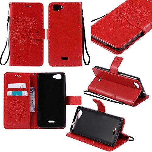 Guran® PU Leder Tasche Etui für Wiko Pulp 3G (5 Zoll) Smartphone Flip Cover Stand Hülle und Karte Slot Case-rote