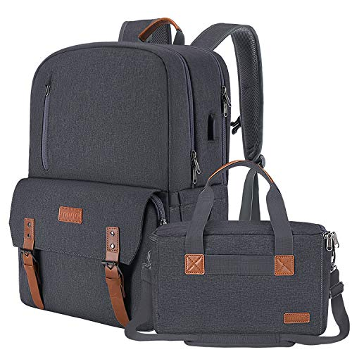 MOSISO Camera Backpack 17.3 inch, DSLR/SLR/Mirrorless Case with Laptop Compartment &Built-in Photography Insert Bag&USB-charging Port&Rain Cover Compatible with Canon/Nikon/Sony/MacBook, Metallic Gray