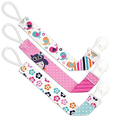 Liname Pacifier Clip for Girls - 3 Pack Gift Packaging - Premium Quality & Unique Design - Pacifier Clips Fit All Pacifiers & Soothers - Perfect Baby Gift