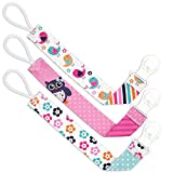 Liname® Dummy Clip for Girls - 3 Pack Gift Packaging - Premium Quality & Unique Design - Dummy Clips Fit All Dummies & Soothers - Perfect Baby Gift
