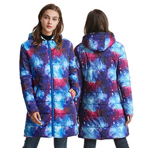Damen Winterjacke Longline Puffer Jacke mit Kapuze Leichte Damen Jacke 2 Taschen vorne Warm M Sternenhimmel A