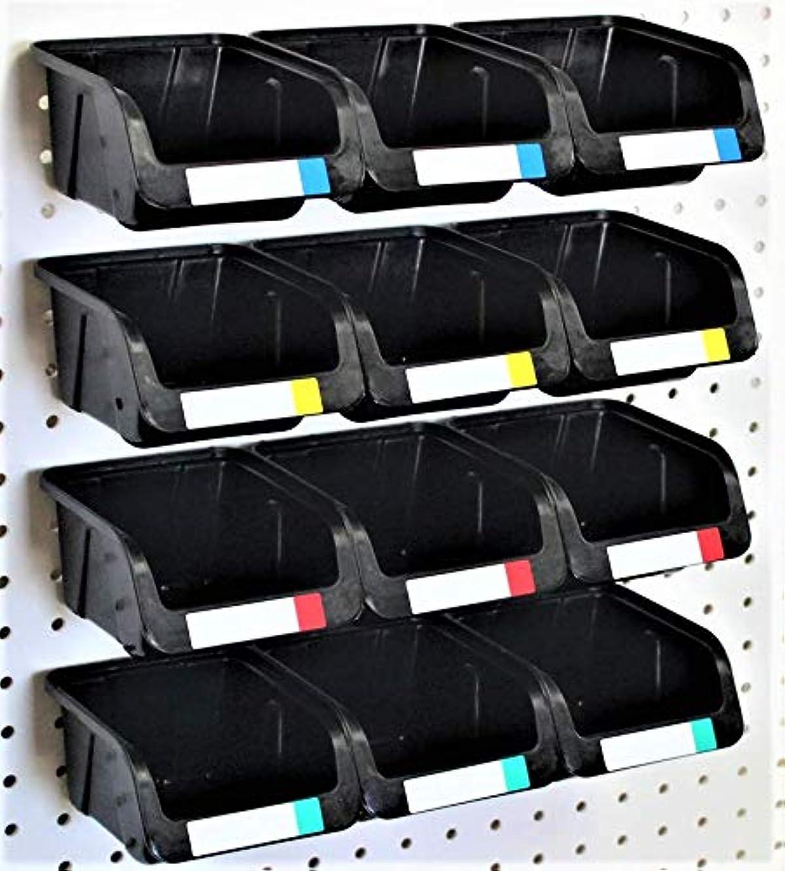 WallPeg Pegboard Bins - 12 Pack - Hooks to 1/4