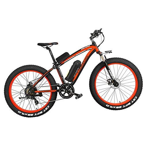 LANKELEISI XF4000 Bicicleta eléctrica 500 W/1000 W 7 velocidades Fat Tire Mountain Bike Adulto Suspensión completa Freno de disco hidráulico, batería de litio 16Ah (rojo negro, 1000W)