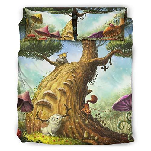4 Stück Bettbezug Set Fantasy Tiere Pilz Baum Wald Druck Superweich Bettdecke Set Bettbezug Flachbetttuch Kissenbezüge Komfortgröße White 228x264cm