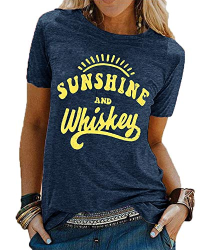 Women Casual Sunshine and Whiskey Funny Workout Graphic Shirt Short Sleeve Letters Printed Summer Soft Tee Vacation Comfy Shirt Tops (Ink Blue 2XL)