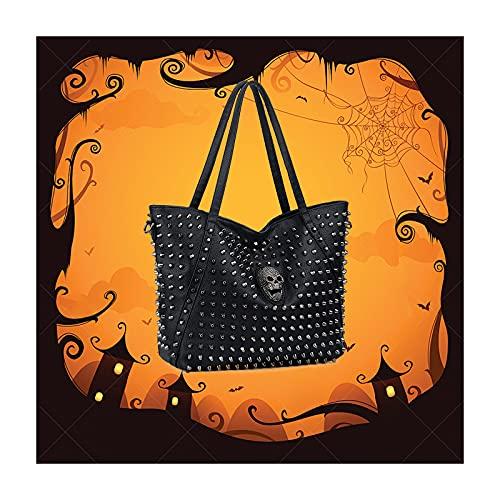 UTO Women Skull Tote Bag Rivet Studded Handbag PU Leather Purse Shopper Shoulder Bags 751