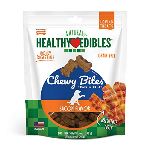 Nylabone Healthy Edibles Natural Chewy Bites Soft Dog Chew Treats Bacon, Brown