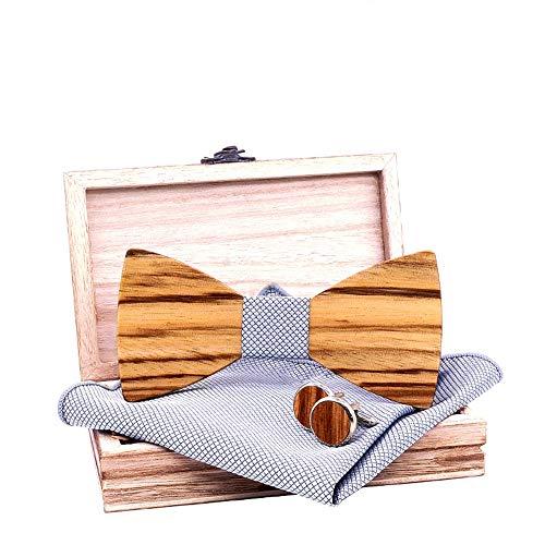 LYY Handgefertigte Holz Fliege Set mit Holz Box 2 Manschettenknöpfe und quadratischer Schal, justierbare Gummiband, Mens-Jungen-Smoking Hochzeit