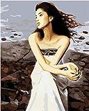 Belleza costera Pintar por Numeros Adultos Niños DIY Pintura por Números con Pinceles y Pinturas 16 * 20 Pulgadas, Sin Marco