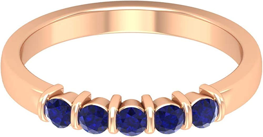 1/2 CT Lab Created Blue Sapphire Band Ring, 5 Stone Wedding Band, Simple Gold Ring (AAAA Quality), 14K Gold