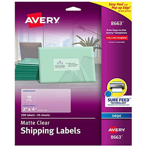 Avery Matte Frosted Clear Address Labels for Inkjet Printers, 2 x 4, 250 Labels (8663)