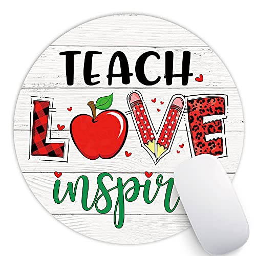 AGMdesign Teach Love Inspire Funny Mouse Pad, Desk Accessories, Teacher Gift, Coworker Gifts, Non-Slip, Waterproof, Stitched Edges, 7.87 x 7.87 x 0.12 Inch