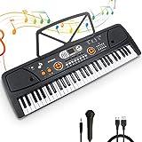 Teclado Electrónico Piano 61 Teclas Teclado de Piano Portátil Teclado Electrónico Musica Teclado Digital Keyboard Piano con Atril y Micrófono Juguete educativo Regalo para Niño Niña Principiantes