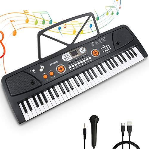 RenFox Keyboard, Digital Piano Mit 61 Tasten, Digital Keyboard, Tragbare Elektronische Klaviertastatur inklusive Notenhalter Mikrofon & Ständer, Spielzeug Geschenk für Kinder und Einsteiger
