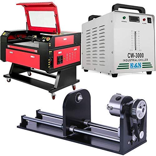 VEVOR 80W Laser Engraving Maschine CO2 Laser Engraver Laser Cutting Machine Graviermaschine mit CW-3000DG Industrielle Wasserkühler Water Cooling Chiller und Rotary Axis 80mm CNC Drehachse