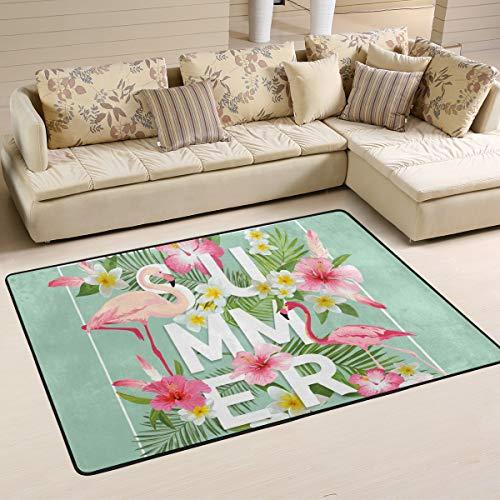 Jstel Teppich, waschbar, weich, Sommer, Flamingo, 90 x 60 cm, Wohnzimmerteppich, bequem, Schlafzimmer, multi, 90 x 60 cm