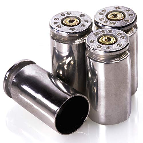 Lucky Shot 40 Caliber Bullet Valve Stem Caps | Genuine Once Fired Round | Set of 4 (Nickle)