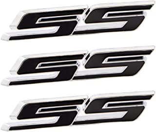 CARRUN 3pcs small Tilt SS Emblems Auto Trunk Door Fender Bumper Badge Decal 3D ABS Sticker Suitable for Chevy IMPALA COBALT Camaro 2010-2015 (Black with Silver outline)
