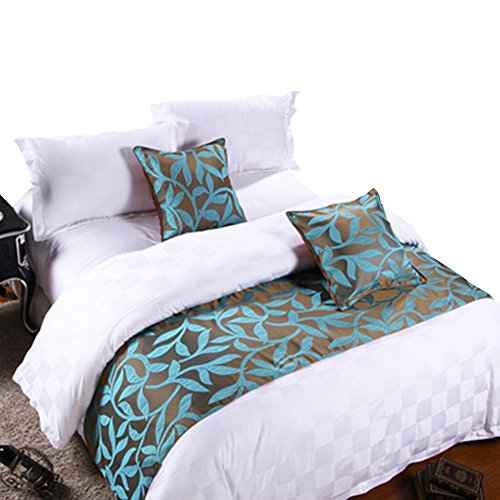 Frjjthchy Cotton Bedding Runner Beautiful Luxurious Bed End Scarf for Bedroom Hotel (Acacia Leaf, 19.69 x 94.49 in)