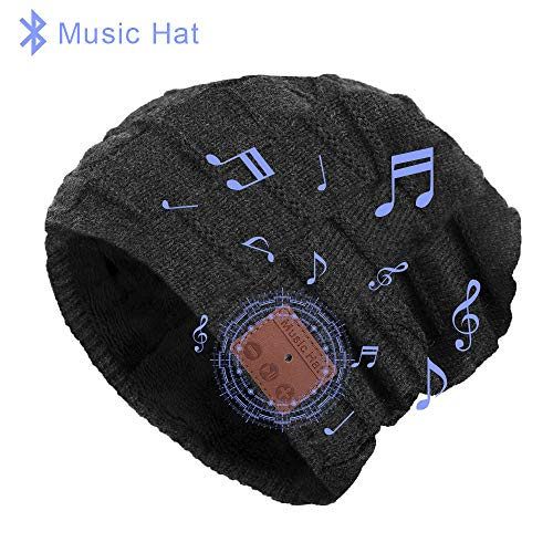 Bluetooth Hat,Bluetooth Beanie, Women Mens Beanie Hats with Bluetooth Headphones, Fits for Outdoor Sports, Skiing,Running, Skating, Walking Black-Grey