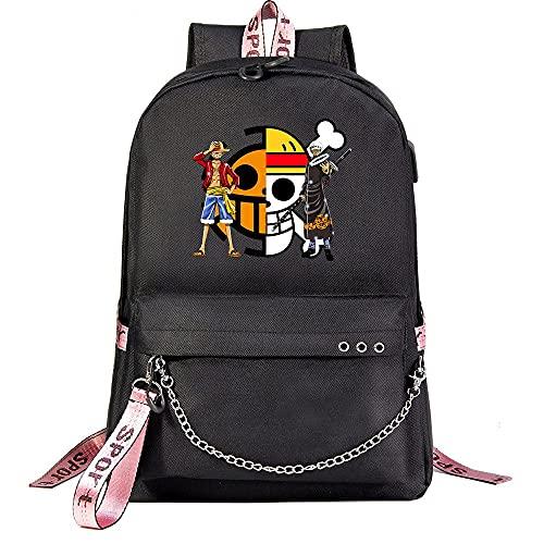 ZZGOO-LL One Piece Monkey·D·Luffy/Roronoa Zoro with Chain USB Anime Laptop Backpack Bag Travel Mochilas Daypacks Bolso Ligero Black-B