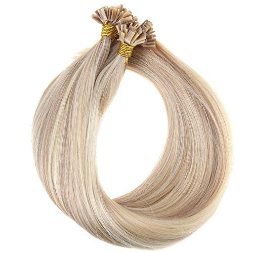 YoungSee Keratin Bondings Echthaar Extensions 1g/strand Blond Gestrahnt Flat Tip Extensions Bondings Echthaar 45 cm 50g/pack