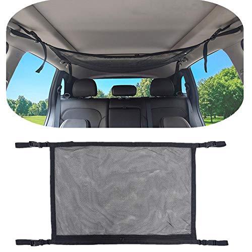 Red en el interior del techo coche, malla de bolsa rganizador de techo Auto universal Organización para ropa, toalla, manta y otros artículo grandes y liviano, agregue más espacio para viaje camping