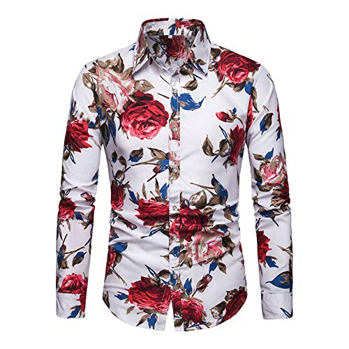 IsFashion Button Down Shirts for Men, Flower Slim Fit Hawaiian Shirts