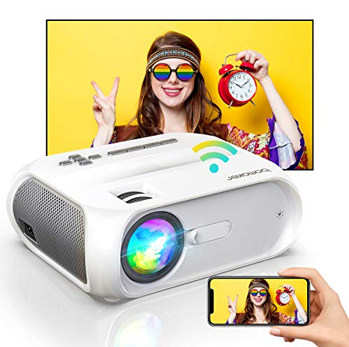 Bomaker WiFi Mini Outdoor Projector, HD 1080P and 300'' Display Supported, 150 ANSI Lumen Portable 4K Movie Projector Home Theater HD, Wireless Mirroring for iPhone/TV Stick/PS4/DVD/Android/Windows