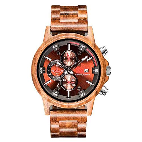 Nieuwe Houten Men's Watch, Multi-Function Sports Fashion Watch, Pointer + Digital Decoration Herenhorloge,B