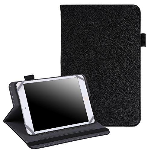 HDE 7'-8' Tablet Case Universal Protective Folio Stand Cover for iPad Mini 7-8' Touchscreen Tablets (Black)