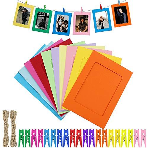 UBERMing 20 Stück Fotorahmen aus Papier zum Aufhängen Papier Bilderrahmen mit 20 Holzklammern und 2.5 m Hanfseile Fotorahmen aus Papier Wanddeko Fotorahmen für Hochzeit Weihnachten und Klassenzimmer