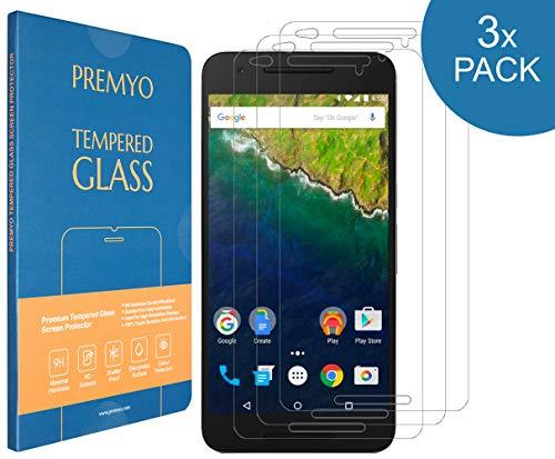 PREMYO 3 Piezas Cristal Templado Protector de Pantalla Compatible con Nexus 6P - Sin Burbujas contra Arañazos 9H