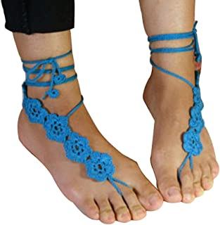 Fashion Women Crochet Flower Barefoot Sandals Anklet Foot Chain Dancing Accessory Fashion